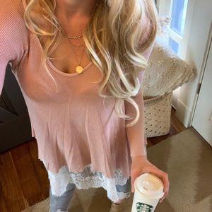 BRAND NEW Sweetest Blush Pink Knit Tunic Blouse